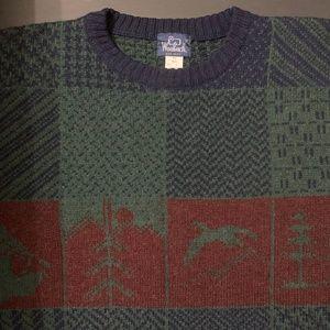 Woolrich 100% Wool Crewneck Sweater Large Green